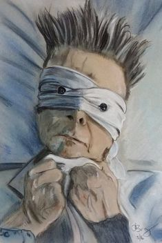 Original pastel portrait of David Bowie from the video Lazarus. The size of the picture is A4