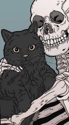 Kitty and Skeleton cats pets cute - Hintergrund - - Katzen / Cat - Cat Wallpaper Witchy Wallpaper, Halloween Wallpaper Iphone, Cat Wallpaper, Aesthetic Iphone Wallpaper, Aesthetic Wallpapers, Wallpaper Backgrounds, Wallpaper Art Iphone, Phone Wallpapers, Gothic Wallpaper
