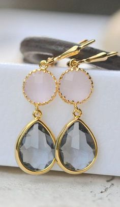 Charcoal Teardrop and Soft Pink Jewel Drop Earrings. by RusticGem