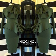 Nicci Hou Collection Army Green Peplum Bow Dress #niccihoucollection #niccihou African Wear, African Dress, African Fashion, African Style, Ankara Fashion, African Attire, African Women, Elegant Dresses, Beautiful Dresses