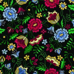 Illustration of Embroidery seamless pattern with beautiful flowers. Vector floral ornament on black background. Embroidery for fashion textile and fabric. vector art, clipart and stock vectors. Banner Printing, Facebook Image, Single Image, Image Photography, Magick, Black Backgrounds, Vector Art, Beautiful Flowers, Backdrops