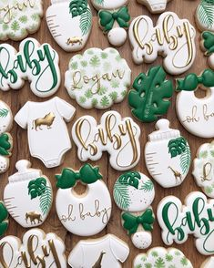 There's something beautiful when you let the bright white on cookies shine on sets! The contrast of the white… Safari Baby Shower Cake, Baby Shower Cakes For Boys, Baby Shower Decorations For Boys, Baby Shower Cookies, Boy Baby Shower Themes, Baby Cookies, Baby Boy Shower, Jungle Theme Baby Shower, Safari Decorations