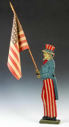A figural wood cut-out silhouette of Uncle Sam with its original painted details and a 48 star flag. Victorian Dollhouse, Modern Dollhouse, Fourth Of July Decor, July 4th, Patriotic Images, Flag Holder, Patriotic Decorations, Vintage Paper Dolls, American Flag