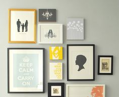 The soft palette and mixture of canvas and whimsical framed art dictate the playful shape of this picture wall.