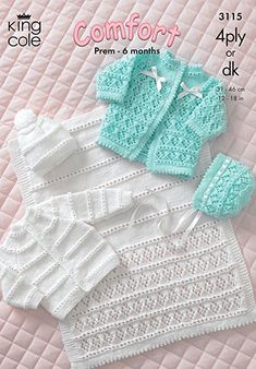 King Cole Baby Coat, Cardigan, Bonnet, Hat & Pram Cover 4 Ply & DK Knitting Pattern 3115 by King Cole