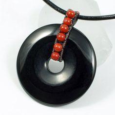 Jewelry: Copper, Red Jasper and Black Onyx Donut