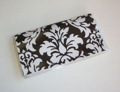 Checkbook Cover / Holder / Case   Black Dandy Damask by Laa766 insert / register / checkbook / duplicate / patterned / fabric / top tear