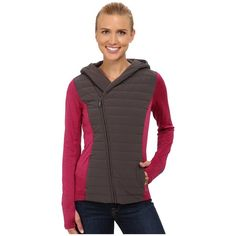 The North Face Vida Full Zip Hoodie Women's Sweatshirt ($120) ❤ liked on Polyvore featuring tops, hoodies, red hoodies, hooded pullover, sweat shirts, the north face sweatshirt and zip front hoodie