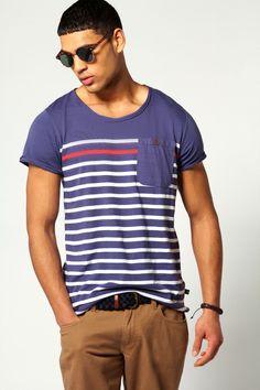 Striped Pocket T Shirt