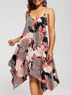 Plus Size Floral Chiffon Asymmetric Sundress a26ab9790