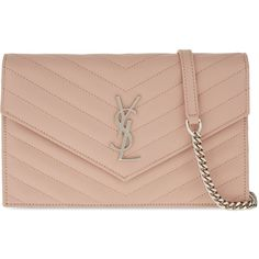 SAINT LAURENT Monogram quilted leather envelope wallet-on-chain (3.905 RON) ❤ liked on Polyvore featuring bags, wallets, monogrammed bags, snap bag, snap closure wallet, quilted bag and quilted chain shoulder bag