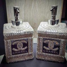 Chanel Liquid Soap and Lotion dispensor! A little Bling in the Bathro… - DIY Badezimmer Dekor Chanel Dekor, Chanel Bedroom, Glamour Decor, Glam Room, Beauty Room, Coco Chanel, Chanel Bags, Chanel Handbags, Bathroom Accessories
