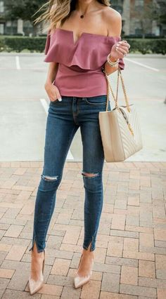 Pretty rose off the shoulder top with distressed denim jeans, blush heels and handbag