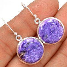 Charoite 925 Sterling Silver Earrings Jewelry