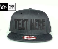 New Era Snapback Hat charcoal - Custom text embroidered - 9Fifty New Era Cap - Customized it by oneuniformstore. Explore more products on http://oneuniformstore.etsy.com