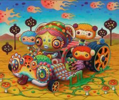 A psychedelic pop surrealism painting by Yoko D'Holbachie of a trippy car filled with cute creatures