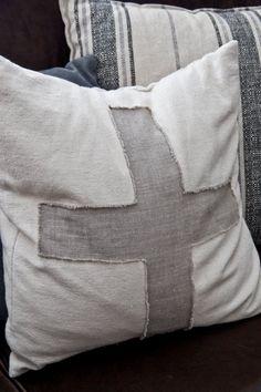 Canvas and Linen Swiss Cross Pillow Cover by sweetteaandlinen, $20.00