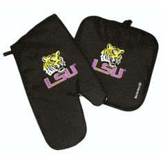 LSU Tigers Black Oven Mitt and Potholder with Embroidered Logo $12.00