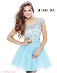 Sherri Hill 2814 A-Line Light Blue Beaded Short Tulle Homecoming Dress Light Blue Homecoming Dresses, Prom Dress 2014, Blue Evening Dresses, Beaded Prom Dress, Prom Party Dresses, Dance Dresses, Evening Gowns, Dresses 2014, Evening Party