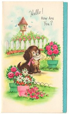 Vintage Greeting Card Get Well Puppy Dog