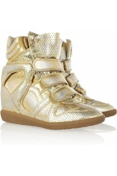 Isabel Marant	Bird metallic leather sneakers