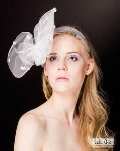 LA PERLA by LALLU CHIC- extravagant, intriguing , bridal, wedding headpiece. Stiff tulle with many pearls.