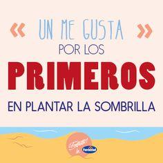 """Un """"me gusta"""" por los que madrugan para plantar la sombrilla en primera línea de playa! #veranofontastic"""