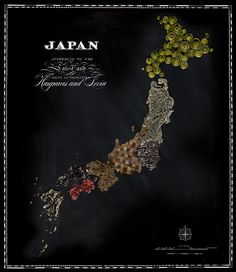 Food map of Japan ~~~ Carte du Japon en nourriture ~~~ ~~~ Source : Henry Hargreaves with Caitlin Levin & Sarit Melmed ~~~ Piu Design Recipe Icon, Native Foods, Food Map, Country Maps, Mouth Watering Food, Wall Maps, Travel Maps, Food Travel, Japanese Culture