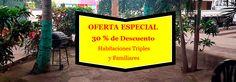 Baner de oferta con un 30% de descuento en habitaciones familiares y triples. Hotel en Managua