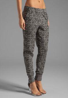 HALSTON HERITAGE Tapered Leg Tweed Knit Sweatpant in Black/Bone - Halston Heritage