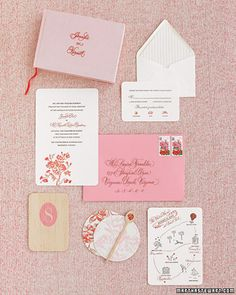 <25 of 38 >  Ranunculus Invitation    This stationery suite features a drawing of the ranunculus bloom engraved in deep pink on the invitation. A bud plucked from the same illustration graces the reception card, as do the flower's arching leaves on the reply card.    Grace Connell Designs