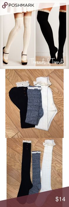 Laced Knee High Socks Amazing and comfy boot socks. Perfect with any look or just lounging around the house. Makes a great stocking stuffer. Beautiful and girly look with the lace trim. Comes in grey black or cream. All SOLD separately Accessories Hosiery & Socks