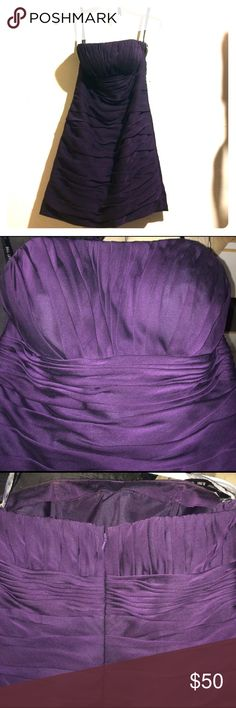 Bill Levkoff strapless dress Very pretty flattering strapless dress. Worn for a friends wedding as a bridesmaid dress.  But I think it could definitely be worn as a wedding guest dress as well! No tears or snags and no stains. Great condition! Very pretty dark plum color. Bill Levkoff Dresses Strapless