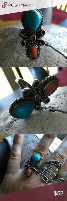 Vintage Navajo Unmarked Sterling ring Gorgeous, unique design ring with Coral and Turquoise stones. Good Vintage condition. Size 6.5 Vintage Jewelry Rings