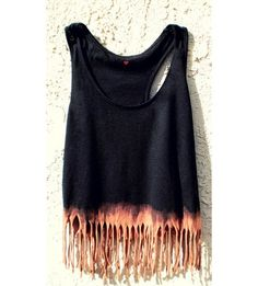 cut up and fringe a shirt then dip the end in bleach to create a different color... genius...diy