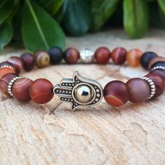 Men's hamsa bracelet Matt agate with silver by Braceletshomme