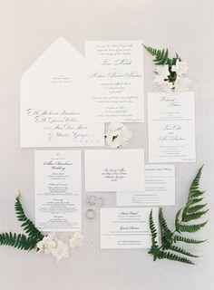 Classic invitation suite: http://www.stylemepretty.com/2016/07/08/classic-hilton-head-wedding/   Photography: Heather Payne Photography - http://heatherpaynephotography.com/