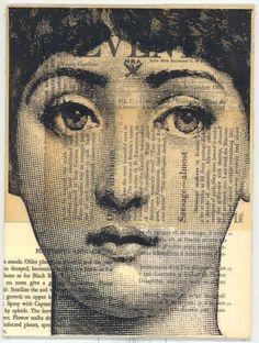 Lina Cavalieri, the face of Fornasetti. Italian Painters, Italian Artist, Piero Fornasetti, Montage Photo, Vintage Ephemera, Collage Art, Face Collage, Belle Photo, Vintage Images