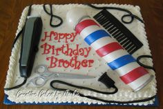 The Barber Menu Choice: Strawberries n' Creme with gumpaste and fondant accessories. Mini Cakes, Cupcake Cakes, Cupcakes, Birthday Cale, Birthday Parties, Cakes For Men, Cakes And More, Mini Tortillas, Hairdresser Cake
