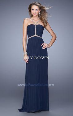 La Femme 21185 Navy Halter Strap Jersey 2016 Prom Dress