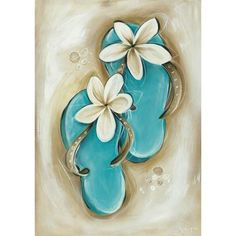 Cutest little flip flops painting with plumeria flowers. Awesome beginner painting idea.