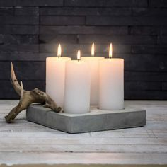 craft with cement Adventstake 4 Adventstake 4 Concrete Crafts, Concrete Art, Concrete Projects, Diy Projects, Candle Lanterns, Pillar Candles, Beton Design, Cement Pots, Creation Deco