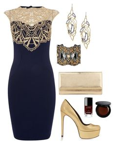 """""""Navy and gold party outfit"""" by emma-asplund on Polyvore featuring Lipsy, Alexis Bittar, Annie Fensterstock, Schutz, Jimmy Choo, Bobbi Brown Cosmetics and Chanel"""