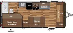Floorplan image of Keystone Hideout model 19FLBWE.