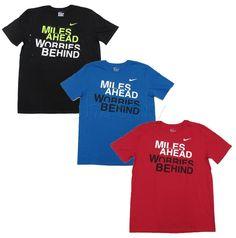 Nike Mens Miles Ahead Tee Shirt Short Sleeve Cotton Crew T-Shirt Worries Behind #Nike #GraphicTee