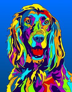 Multi-Color Irish Setter Dog Breed Matted Prints & Canvas Giclées by cristina