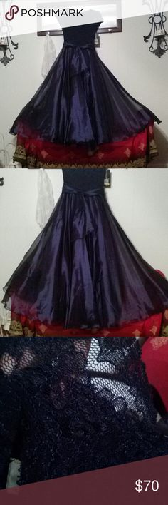 PROM DRESS!! NWT!! BY: COLLECTIONS!! STUNNING!! SIZE 8. 56 Inches long! DARK ROYAL NAVY BLUE! LACE TOP AND CAP SLEEVES. ZIPPER BACK AND GORGEOUS BELT AT WAIST. FLOOR LENGTH. TULE, TAFFETA AND SHEER SEE THRU FABRIC .....THIS DRESS IS BREATHTAKING!! PICS JUST DON'T DO IT JUSTICE!!  ORIGINALLY PRICED AT $170.00/$127.50.NWT!! COLLECTIONS Dresses Prom