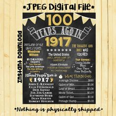 Gold 100th Birthday Chalkboard 1917 Poster 100 Years Ago in 1917 Born in 1917 100th Birthday Gift INSTANT DOWNLOAD