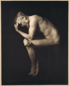 "Alvin Langdon Coburn's photograph of George Bernard Shaw posing as ""The Thinker."" When the photograph was exhibited in the London Salon in 1906."