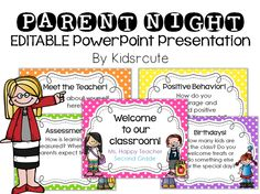 Welcome and inform parents at open house with a cute and colorful presentation you can customize for your classroom!